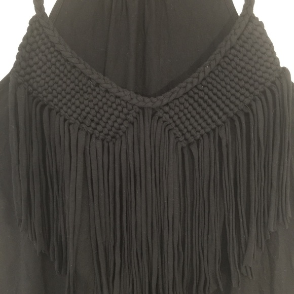 Love & Legend fringe front black tank top